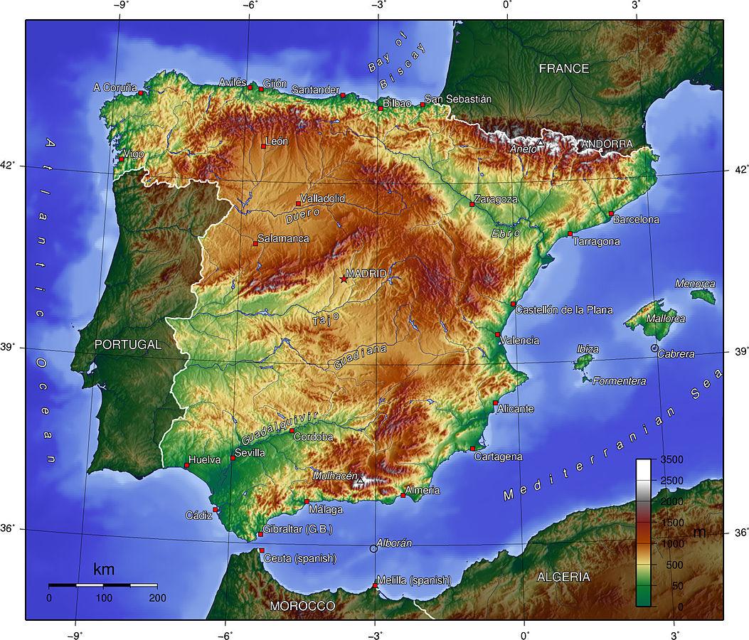 topografisk karta Kartor över Spanien | Om Spanien topografisk karta